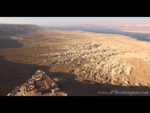 Aerial View of Breathtaking Desert Fortress (Masada, Israel)-Drone Cinematography by JP Worthington