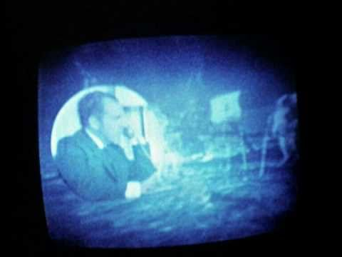 President Nixon speaking with astronauts Armstrong and Aldrin on the Moon