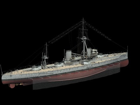 Battleship HMS Dreadnought in 3D