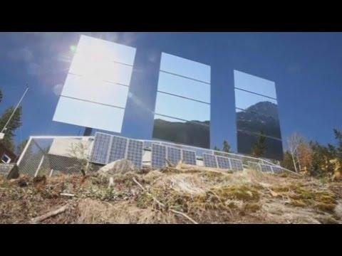 Giant mirrors reflect sunshine into dark Norway town of Rjukan