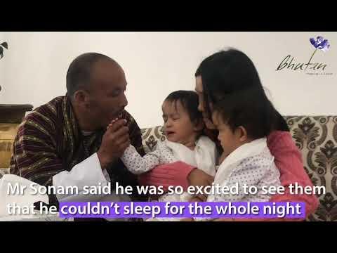 Separated twins Nima and Dawa arrive home in Bhutan
