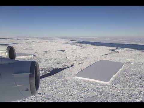 Flight Over a Rectangular Iceberg in the Antarctic