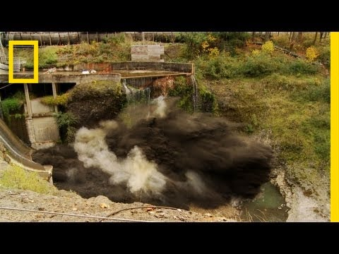 """Spectacular Time Lapse Dam """"Removal"""" Video 