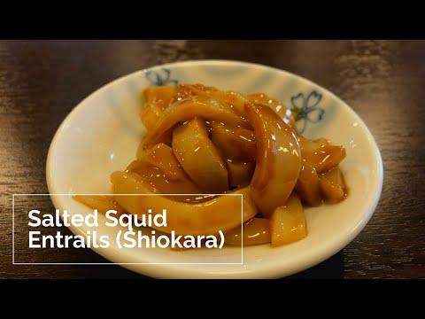 Japanese chef makes a Salted Squid entrails(Squid Shiokara)
