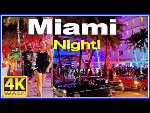 4K VIDEO WALK Ocean Drive SOUTH BEACH Miami Beach 4K Florida USA