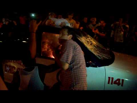 Raw Video of 2010 Lakers Riots [Taxi Fire Incident]