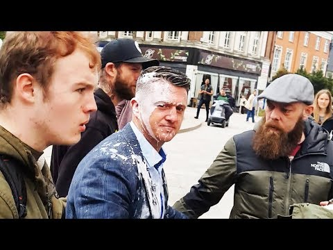 Man Throws Milkshake at Tommy Robinson in Warrington [FULL VIDEO]