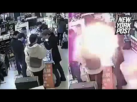 iPhone battery explodes into a fireball after a man bites into it