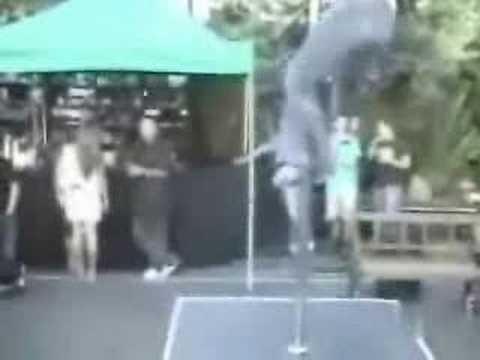 Pole dancer falls off pole