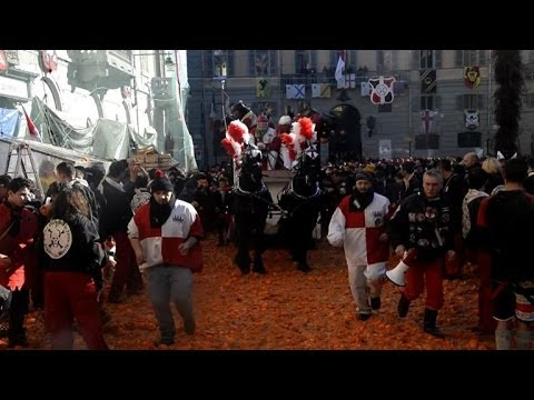 Traditional 'Battle of the Oranges' rages in Ivrea, Italy