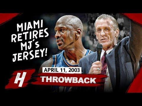 Miami Heat Retires MJ's 23 Jersey! Michael Jordan Full Highlights vs Heat 2003.04.11 - 25 Points!