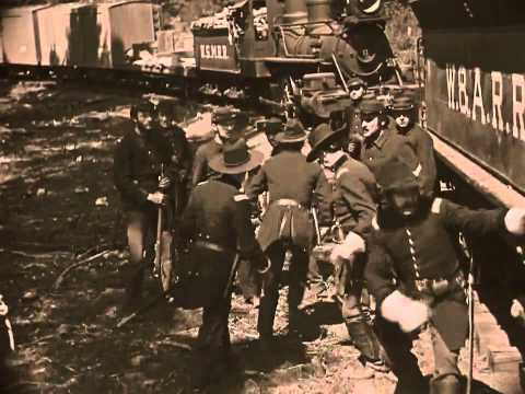 The iconic train scene from 'General' by Buster Keaton, 1927