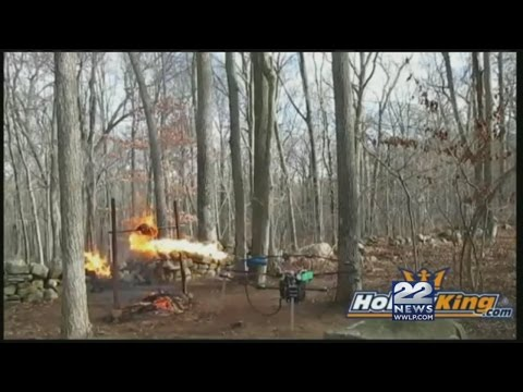 Flamethrower attached to a drone used to cook a turkey