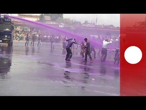 Jets of purple greet Kashmir protesters