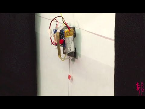 Micro robot climbs vertical glass carrying 100 times its weight