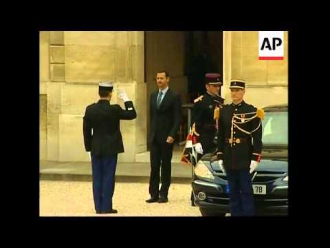 WRAP Sarkozy greets Lebanon president, then Assad; Suleiman comments