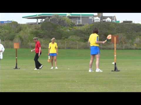 Amanda Curry bowling at Seaford stoolball tournament (semi-final)