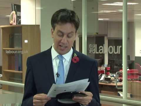 Ed Miliband reads, 'Ralph Miliband killed my kitten'