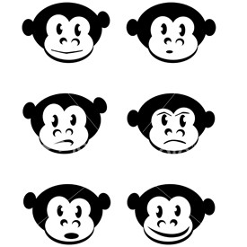 Ist2 479183 Six Cartoon Monkey Expressions Illustrations
