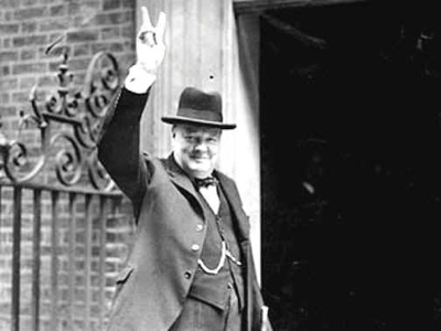 Winston Churchill 1943 The Famous Victory Salute