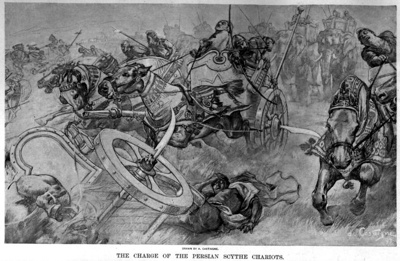 800Px-The Charge Of The Persian Scythed Chariots At The Battle Of Gaugamela By Andre Castaigne (1898-1899)