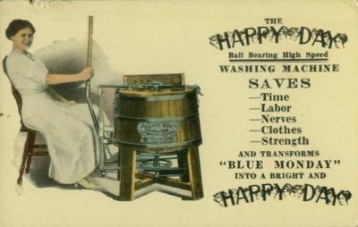 Postcardadvertisinghappydaywashingmachinecirca1910