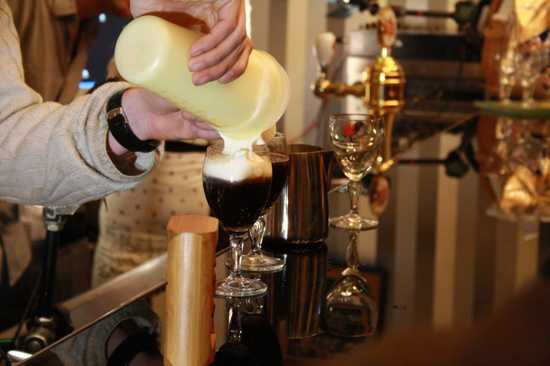 Making Of Irish Coffee On Coffee Right In Brno, Czech Republic