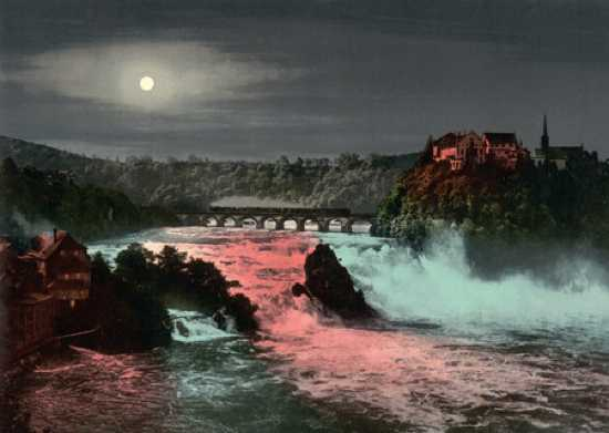 2086 Bridge Rhine Falls And Laufen Castle At Night