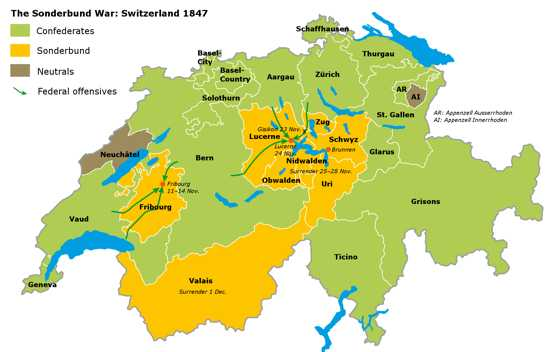 Sonderbund War Map English