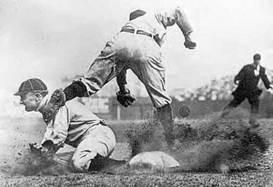 Ty-Cobb-Stealing-Third-Base-By-Charles-Martin-Conlon-July-23-1910-2