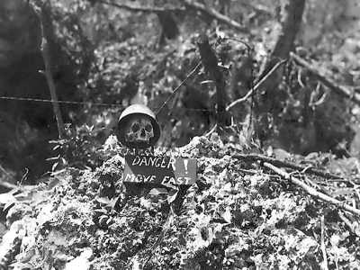Skull And Danger Sign On Peleliu Natl Archives