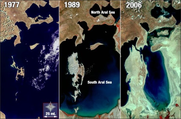Aral Sea Shrinking