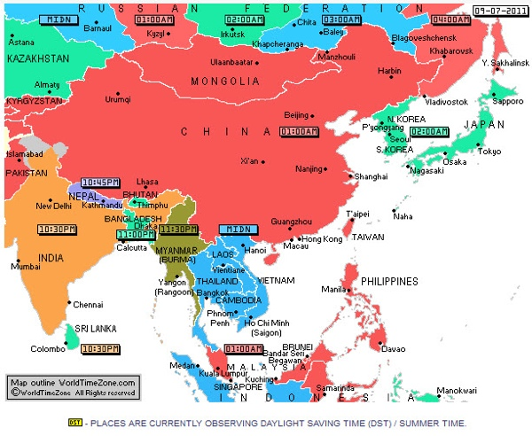 LesserKnown Facts About Time Zones Listverse - Japan map time zones