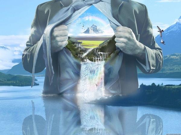 Waterfall-Man-Nature-Image