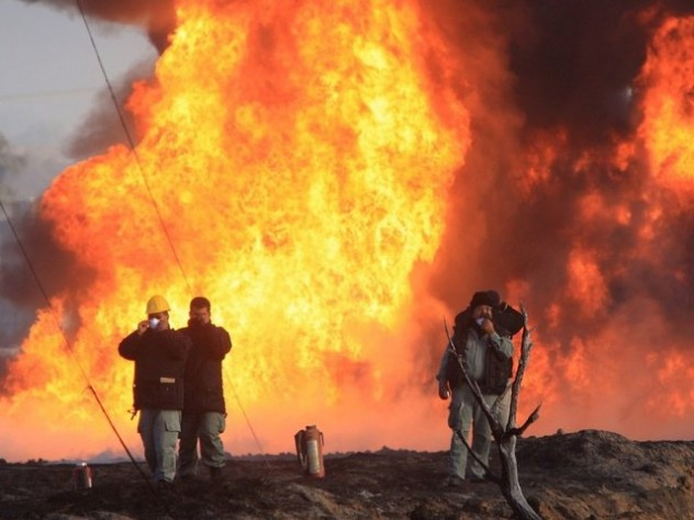 Aftermath of a pipeline explosion