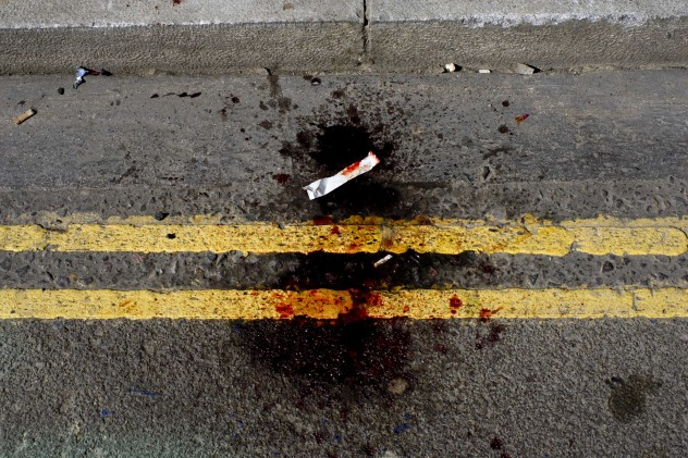 blood on road