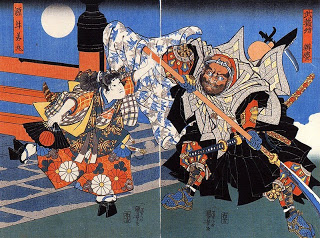 Uchiwakamaru_fighting_Benkei_on_Gojo_bridge