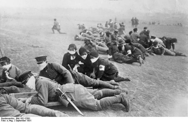 Japanische Infanterie, Schutz gegen Gas