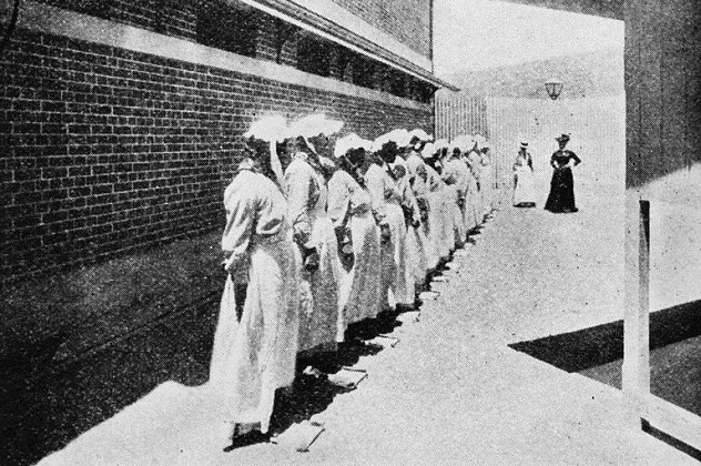 769px-StateLibQld_2_67803_Kit_inspections_at_the_new_female_division_of_the_Boggo_Road_Gaol,_Brisbane,_1903