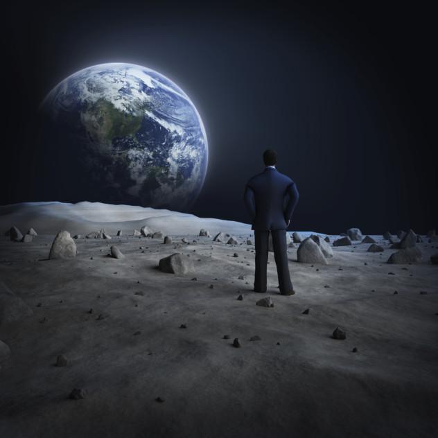Moon looking at earth minimal spacesuit