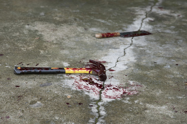 bloody hammer and knife