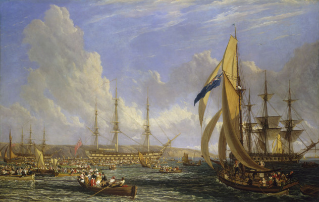 'Scene in Plymouth sound in August 1815'oil on canvas by John James Chalon, 1816