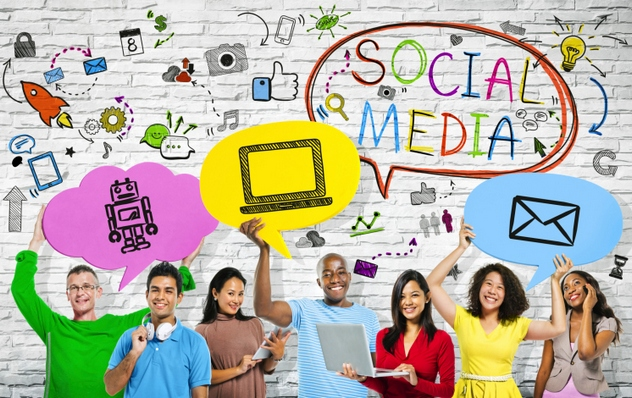 Social Media concepts with a multi-ethnic group of people