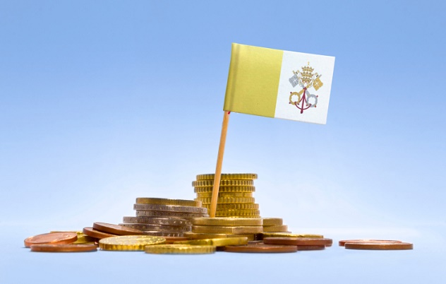 Flag of Vatican City in a stack of coins.(series)