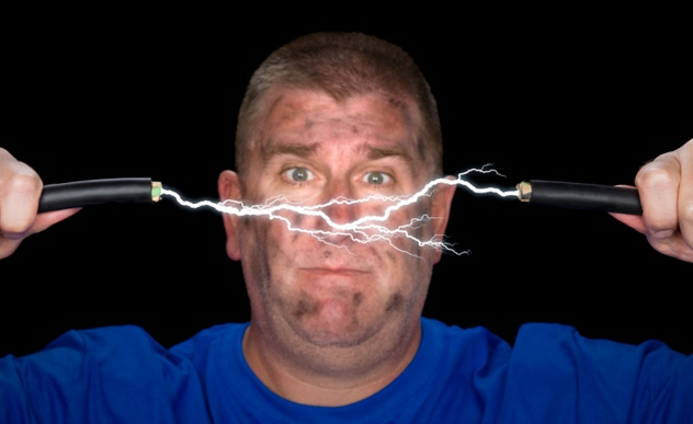Man and electrical arc