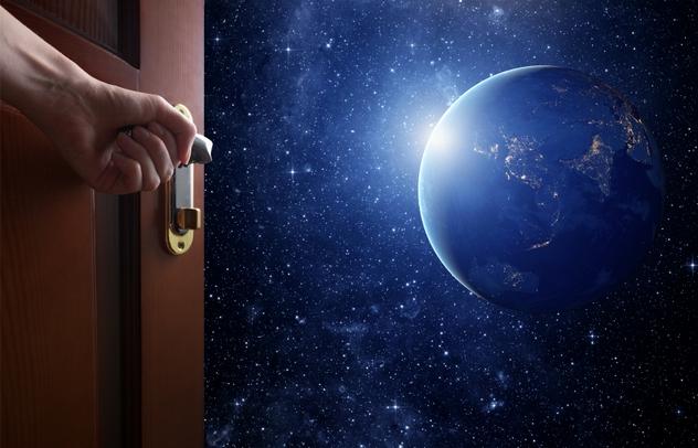 room with open door