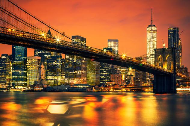 New York City Manhattan midtown at sunset
