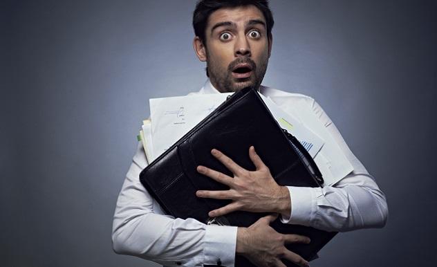 Frightened office worker