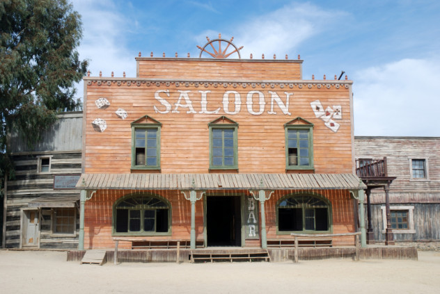 Saloon in an old American western town