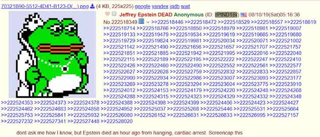 Epstein's Death is Announced on 4Chan